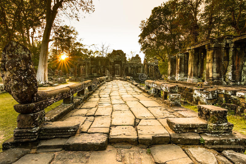 Sunset over Bateay Kdei temple stock image