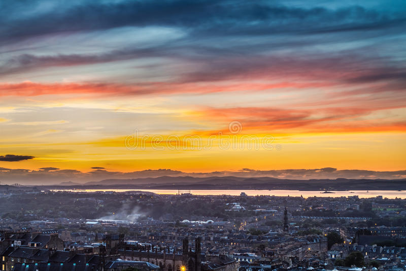 Sunset over the bay in Edinburgh royalty free stock photo
