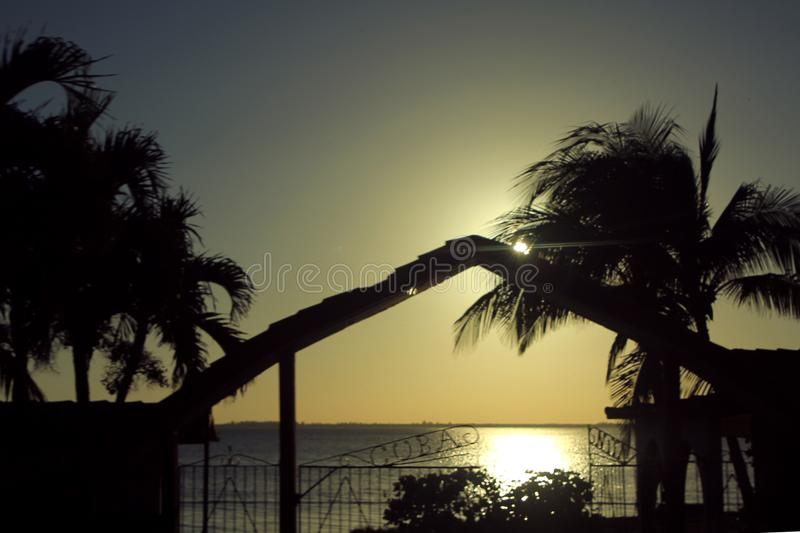 Sunset over the Bay of Pigs stock photography