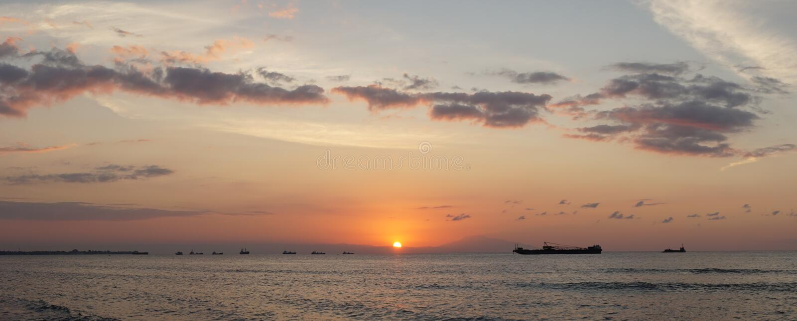 Sunset over the beach at Cape Fatucama in Dili, East Timor.  stock images