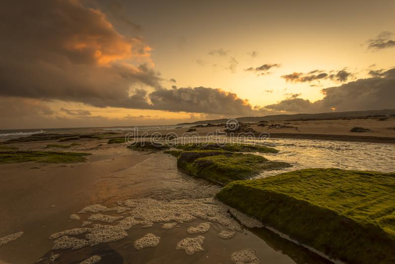 Sunset over beautiful beach at Apollo Bay Coastal Reserve Melbourne Australia Great Ocean Road. Australasia royalty free stock photos