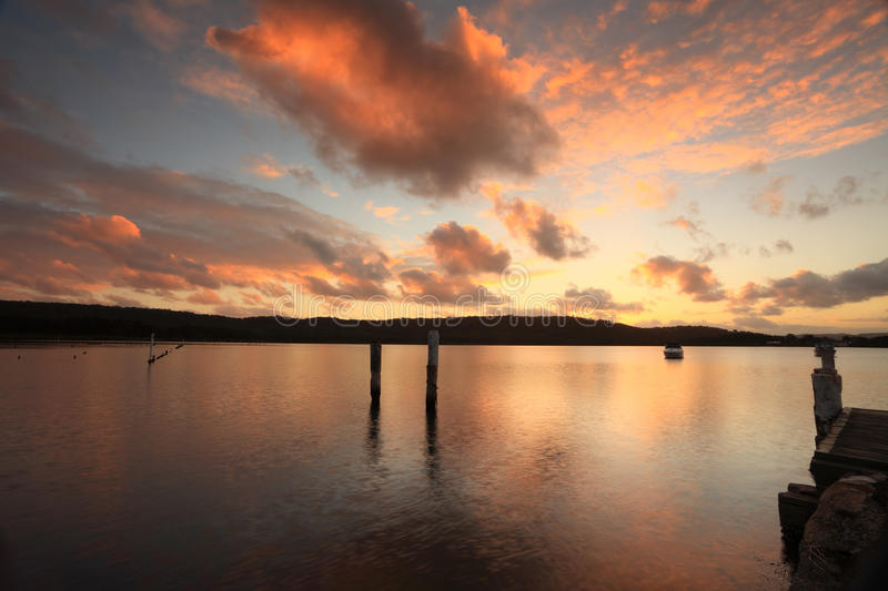 Sunset over Beautiful Bensville Central Coast, Australia. Beautiful Bensville sunsetover the oyster farms situated on the Central Coast, NSW, Australia royalty free stock photo