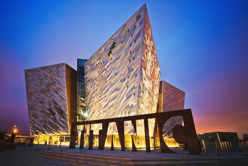 Sunset over Belfast Titanic, Belfast, Northern Ireland, UK. BELFAST, NORTHERN IRELAND - JUNE 28, 2017: Sunset over Titanic Belfast - museum, touristic attraction stock photography