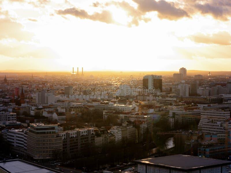 Sunset over Berlin`s rooftops - Panoramapunkt Berlin stock photos