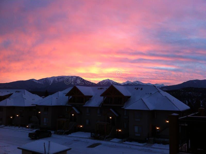 Sunset over Bighorn Meadows Resort. Bighorn Meadows Resort in Radium Hot Springs British Columbia in the winter stock photos