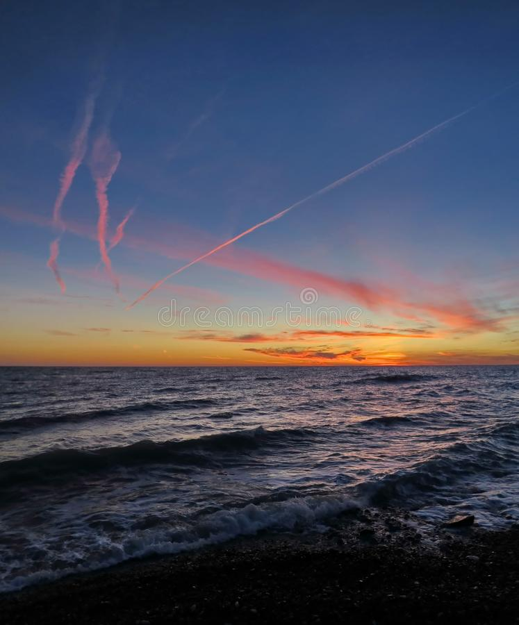 Sunset over the Black Sea. Sochi. Russia. royalty free stock photo
