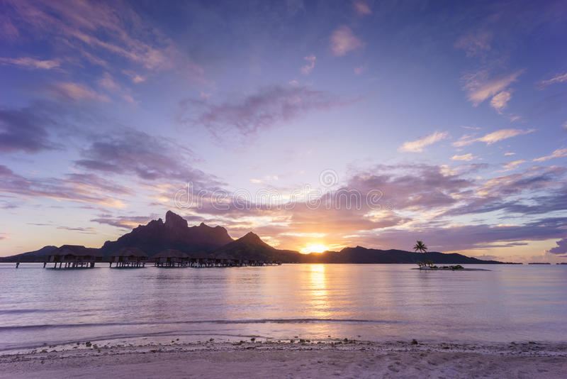 Sunset over Bora Bora. Beautiful sunset over the island of Bora Bora, French Polynesia royalty free stock photo