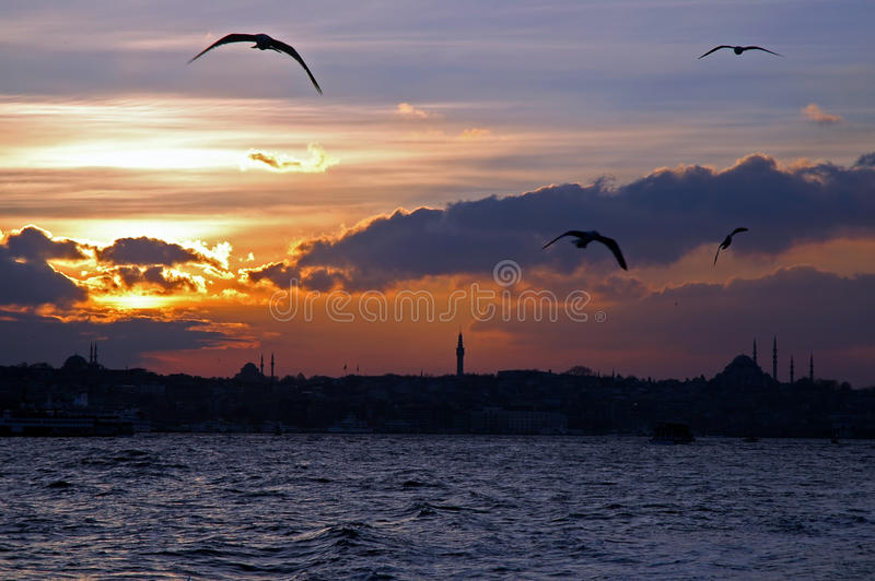 Sunset over Bosphorus, Istanbul, Turkey royalty free stock images