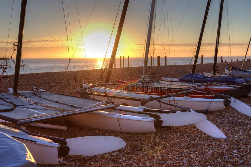 Sunset over Brighton beach royalty free stock image
