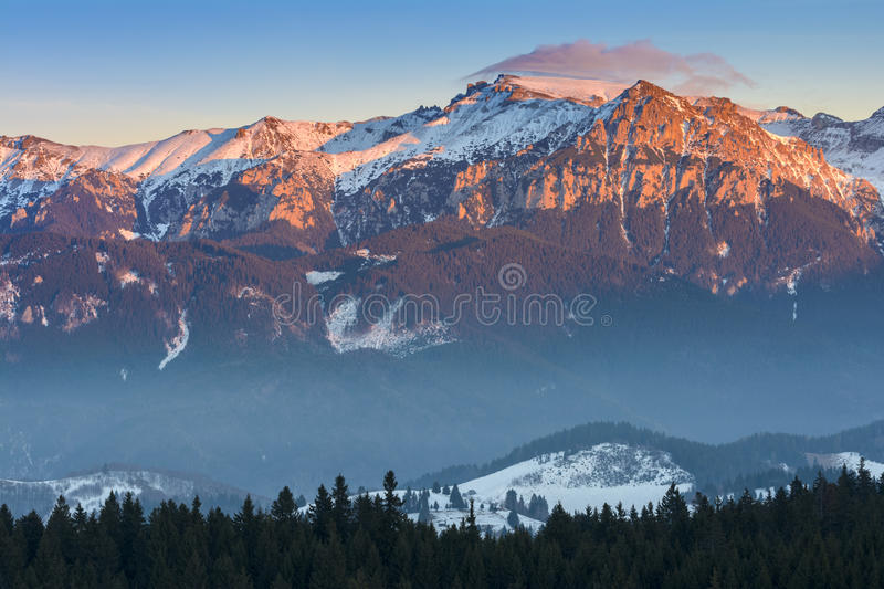 Sunset over Bucegi Mountains, Romania stock photos