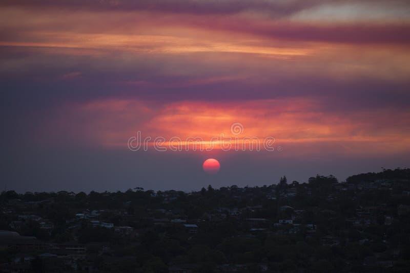 Sunset over Bushfire Haze stock image