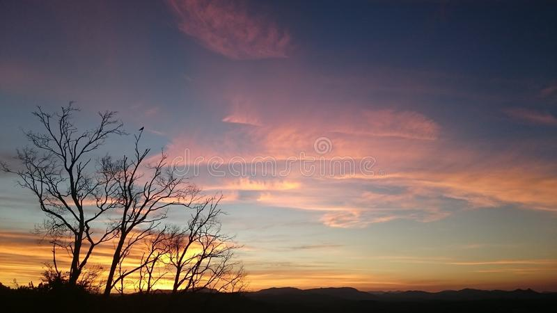 Sunset over Byron Bay Hinterland royalty free stock photography