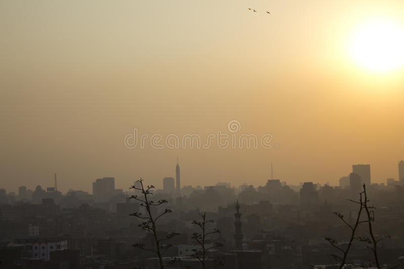 Sunset over Cairo. Cairo sunset taken from the AlAzhar park in Cairo stock images