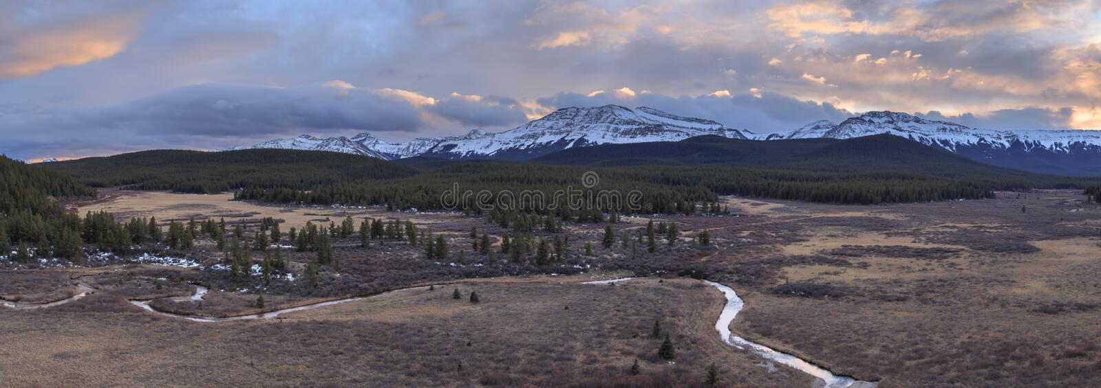 Sunset over the canadian Rocky Mountains in Alberta royalty free stock photography