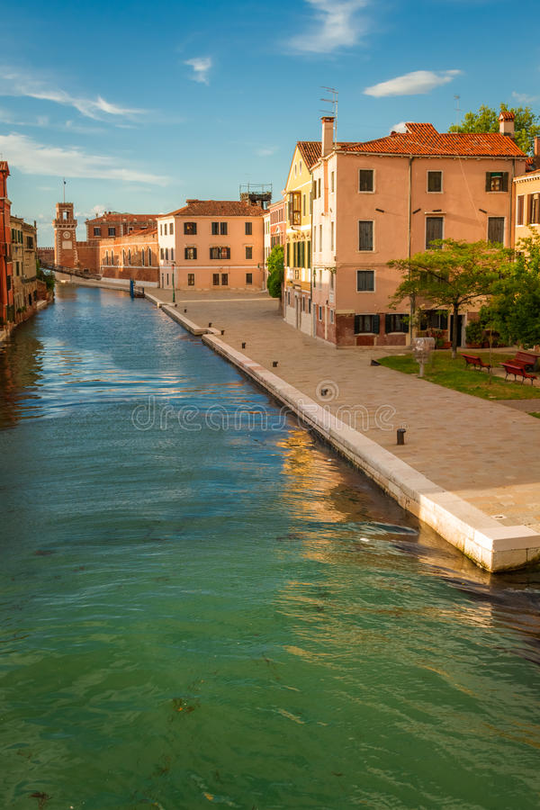Sunset over the canal in Venice stock photo