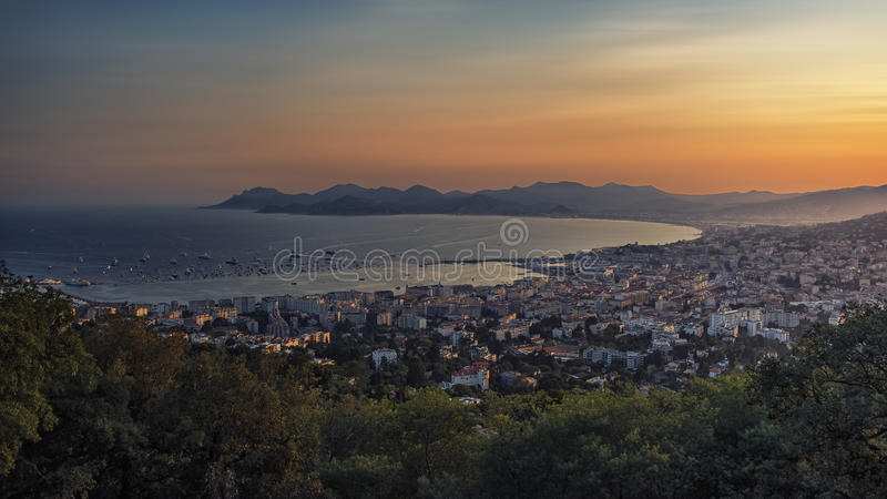 Sunset over Cannes. Bay of Cannes on the French Riviera royalty free stock images