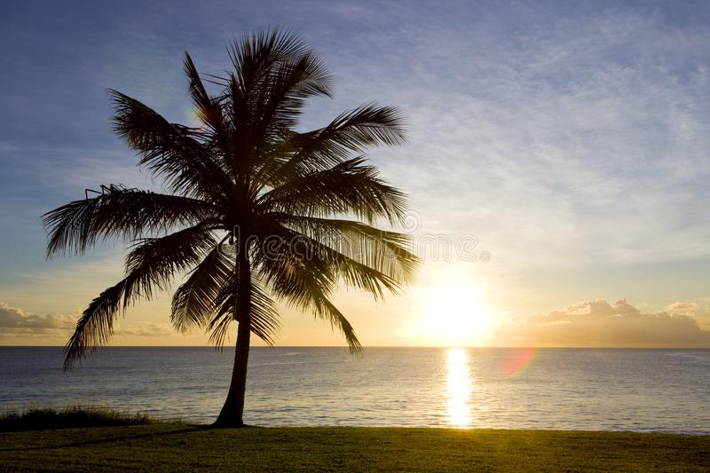 Sunset over Caribbean Sea, Barbados. Outdoor, outdoors, outside, exterior, exteriors, america, central, greater, antilles, lesser, west, indies, windward royalty free stock photography
