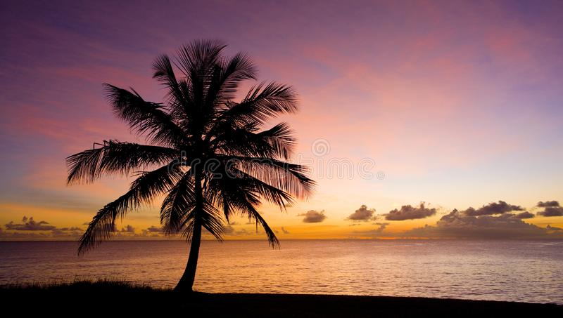 Sunset over Caribbean Sea, Barbados. Outdoor, outdoors, outside, exterior, exteriors, america, central, greater, antilles, lesser, west, indies, windward stock photography