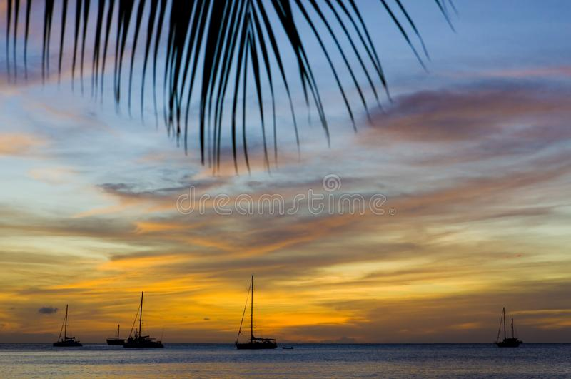 Sunset over the Caribbean Sea, Grand Anse Bay, Grenada. Outdoor, outdoors, outside, exterior, exteriors, america, central, greater, antilles, lesser, west royalty free stock photos