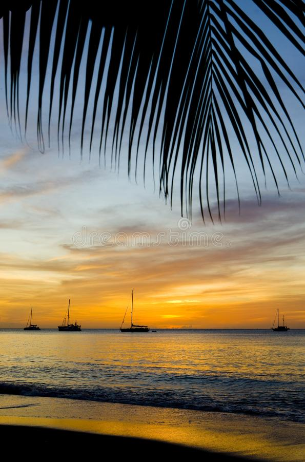 Sunset over the Caribbean Sea, Grand Anse Bay, Grenada. Outdoor, outdoors, outside, exterior, exteriors, america, central, greater, antilles, lesser, west stock photography