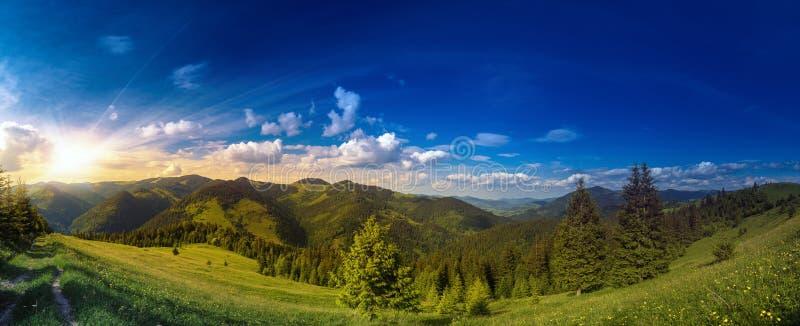 Sunset over carpathian mountains panorama. Majestic highland landscape stock photos