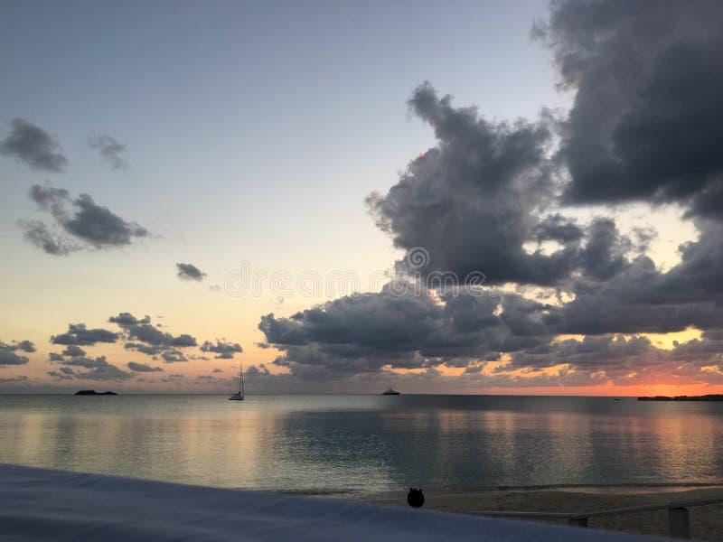 Sunset over Cat Island royalty free stock photo