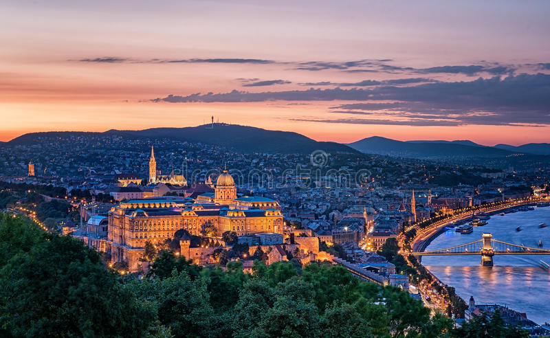 Sunset over the Chain Bridge and the Hungarian Parliament royalty free stock image