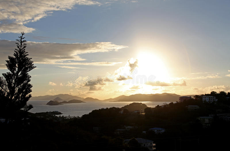 Sunset over Charlotte Amalie in St Thomas stock images