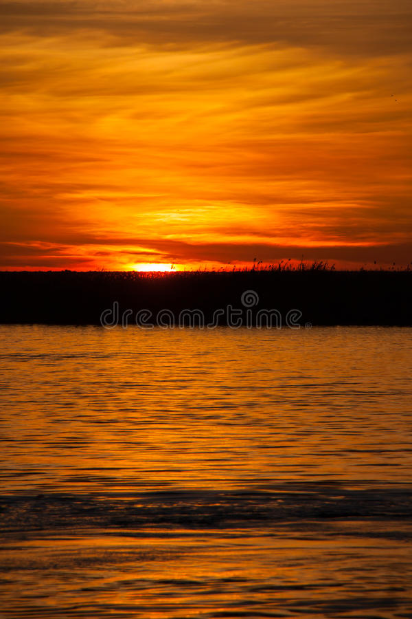Sunset over Chobe River, Botswana royalty free stock photography