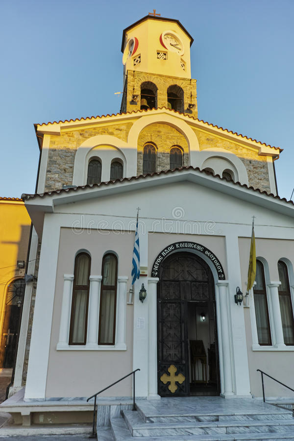 Sunset over church in Kavala, East Macedonia and Thrace. Greece royalty free stock photo