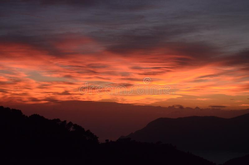 Sunset over Cinque Terre, Italy royalty free stock images
