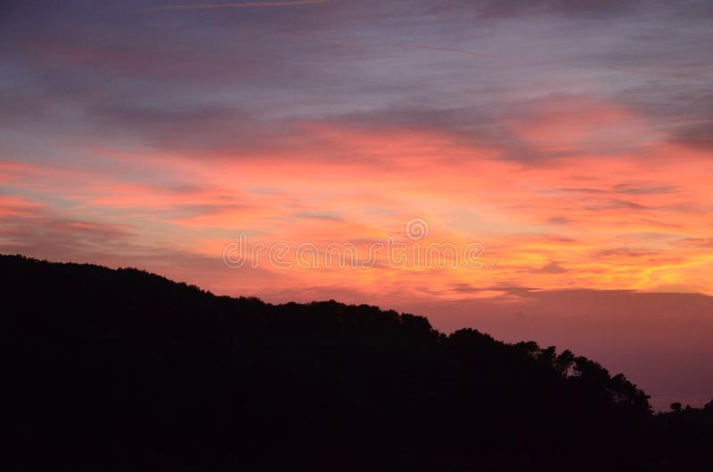 Sunset over Cinque Terre, Italy stock photo