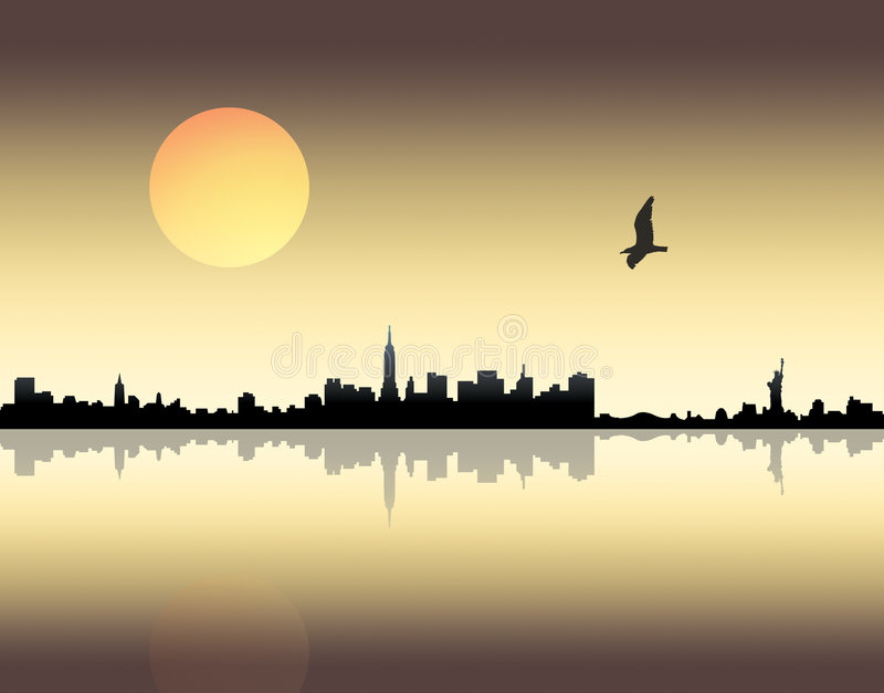 Download Sunset over city stock illustration. Image of architecture - 4305884