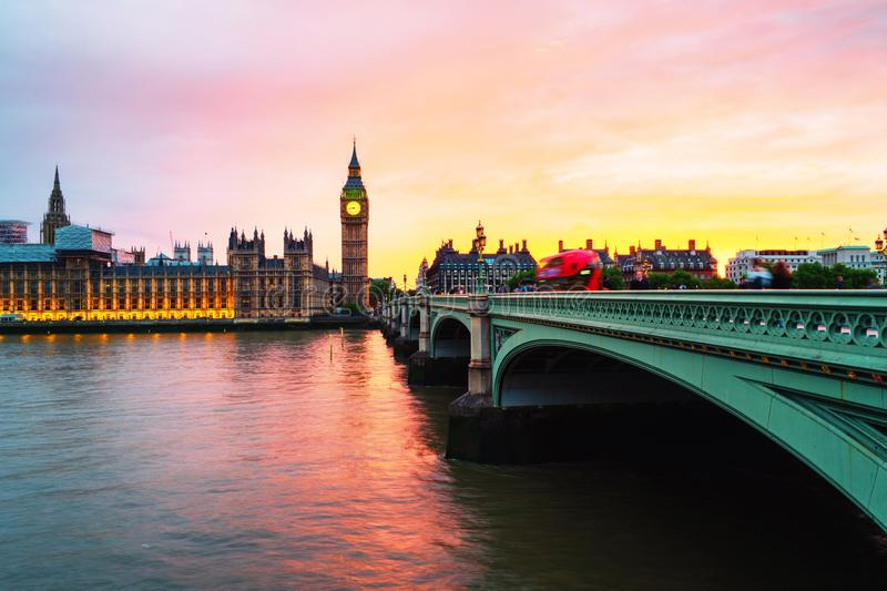 Sunset over the city of London, UK. Colorful sky behind Westminster and Big Ben. London, UK. Sunset over the city of London, UK. Colorful sky behind Westminster royalty free stock photography