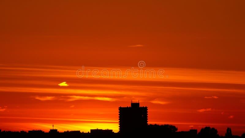 Sunset over City Skyline royalty free stock image