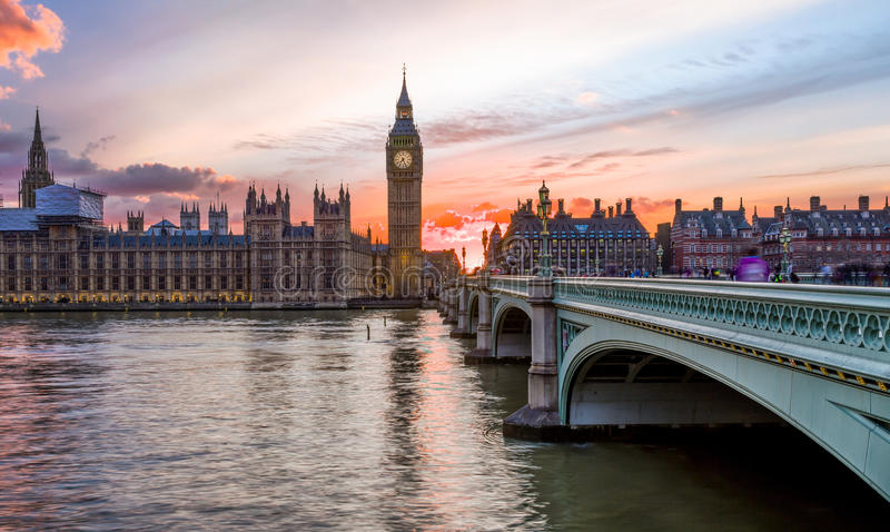 Sunset over the City of Westminster in London stock images