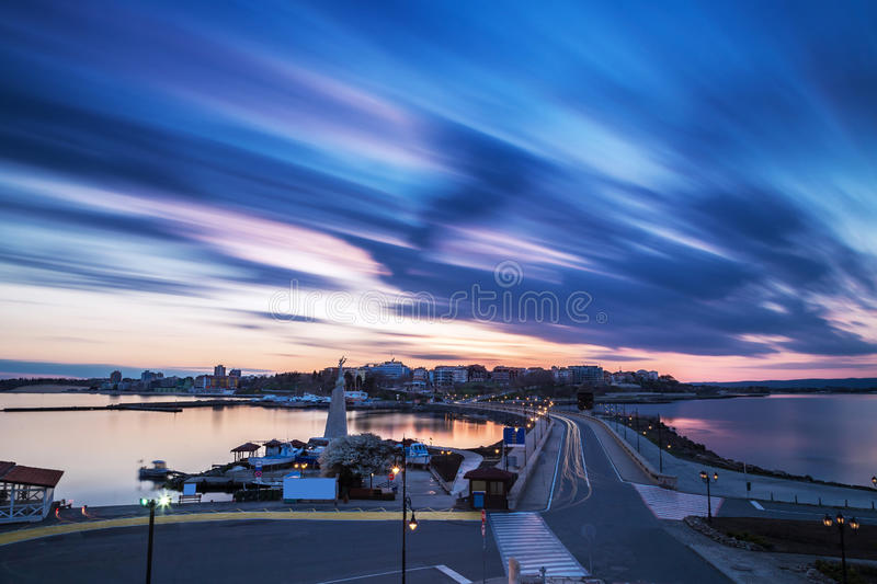 Sunset over the coastal town royalty free stock image