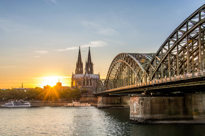 Sunset over Cologne royalty free stock photography