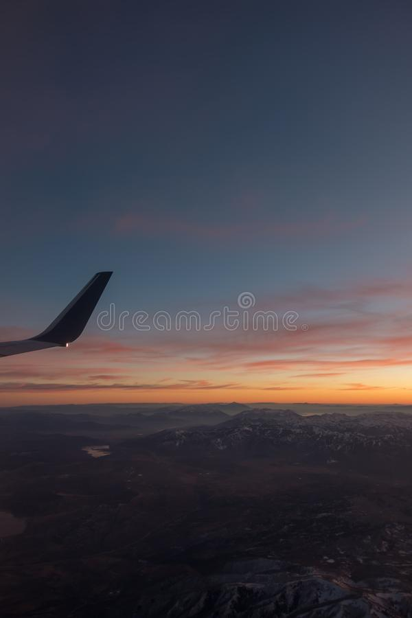 Sunset over colorado rockies from an airplane. Sunset over colorado rockies  from an airplane stock images