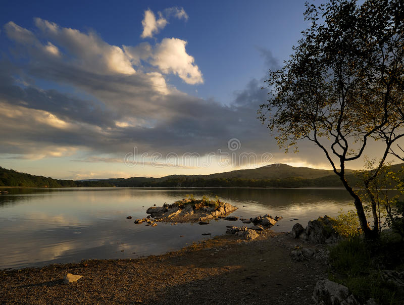 Sunset over Coniston Water, royalty free stock photos