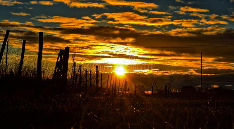 Sunset over country field royalty free stock photo