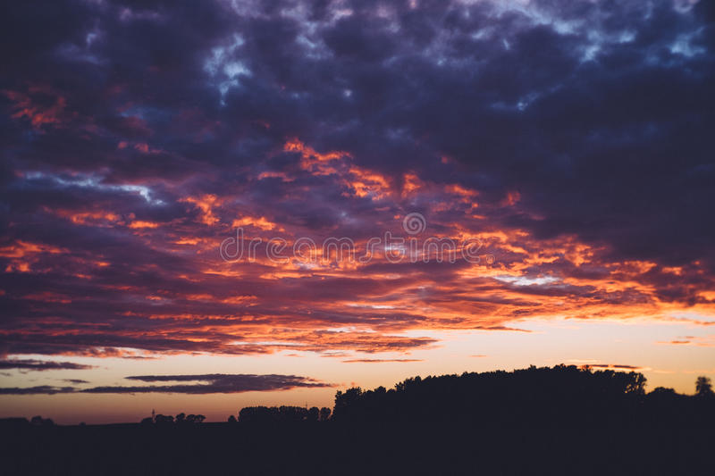 Sunset over countryside royalty free stock photos
