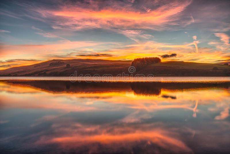 Sunset over Crai Reservoir Brecon Beacons South Wales royalty free stock photo