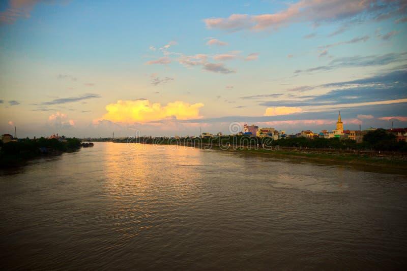 Sunset over Dao river in Namdinh. Vietnam stock image