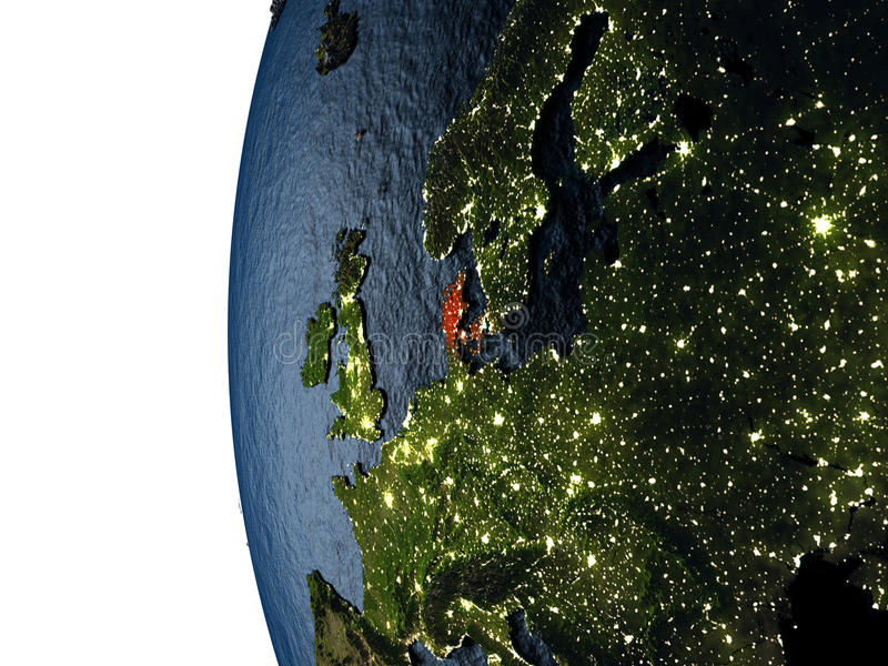 Sunset over Denmark from space. Denmark highlighted in red on Earth as seen from Earth's orbit in space during sunset. 3D illustration with highly detailed royalty free illustration