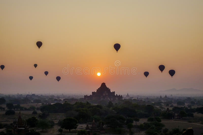 Sunset over Dhammayangyi Temple in Bagan, Myanmar stock photography