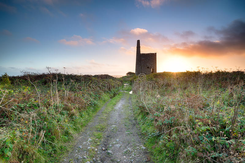 Ding Mine. Sunset over the Ding Mine engine house near Penzance in Cornwall royalty free stock photos