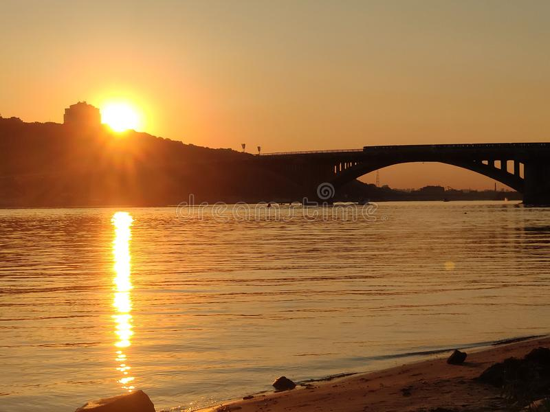 Sunset over Dnipro river, Ukraine royalty free stock photography