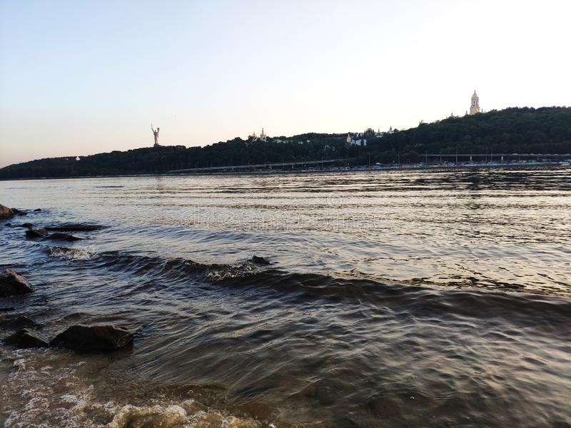 Sunset over Dnipro river, Ukraine royalty free stock images