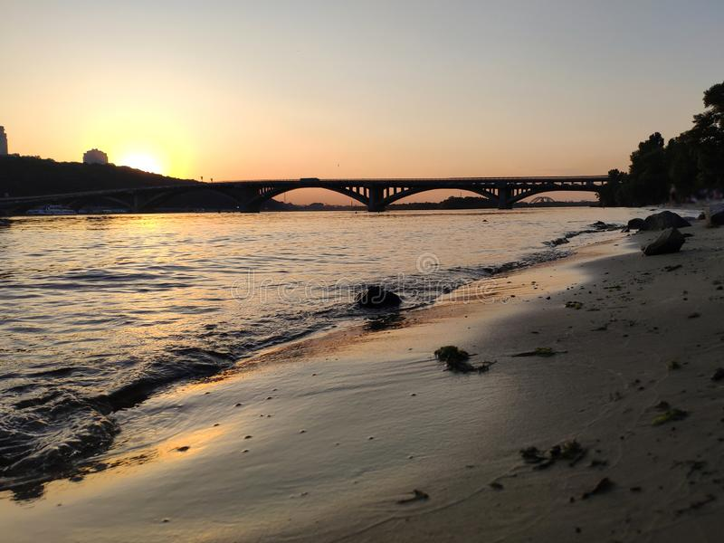 Sunset over Dnipro river, Ukraine stock images